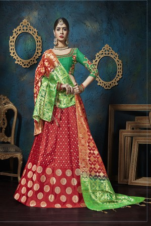 Fantastic Red Pure silk Jacquard Designer Weaving Jacquard Lehenga with Embroidery Blouse Lehenga Choli