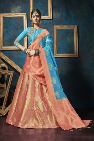 Majestic Orange Pure silk Jacquard Designer Weaving Jacquard Lehenga with Embroidery Blouse Lehenga Choli