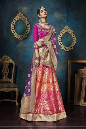 Sensuous Ranipink Pure silk Jacquard Designer Weaving Jacquard Lehenga with Embroidery Blouse Lehenga Choli