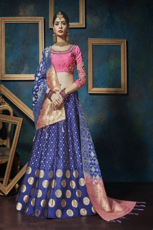 Glamorous Blue Pure silk Jacquard Designer Weaving Jacquard Lehenga with Embroidery Blouse Lehenga Choli