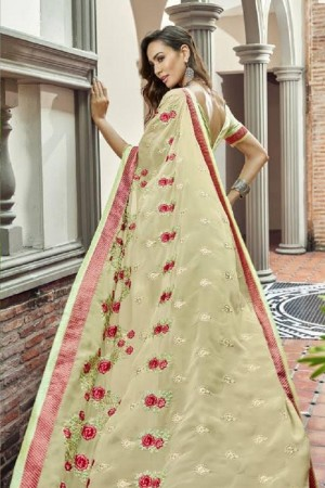 Dashing Beige Faux georgette Embroidery and Lace Border Saree