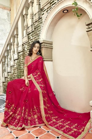 Breezy Pink Faux georgette Embroidery and Lace Border Saree