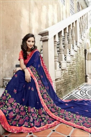 Exuberant Blue Faux georgette Embroidery and Lace Border Saree