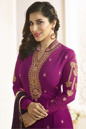 Sophie Choudry Wine Georgette Heavy Embroidery on Neck and Sleeve with Lace Border Salwar Kameez