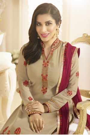 Sophie Choudry Chiku Georgette Heavy Embroidery on Neck and Sleeve with Lace Border Salwar Kameez