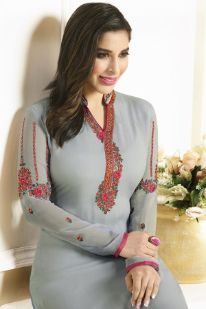 Sophie Choudry Grey Georgette Heavy Embroidery on Neck and Sleeve with Lace Border Salwar Kameez