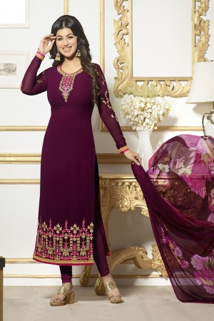 Ayesha Takia Wine Georgette Heavy Embroidery on Neck and Sleeve Salwar Kameez