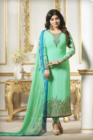 Ayesha Takia Pista Green Georgette Heavy Embroidery on Neck and Sleeve Salwar Kameez