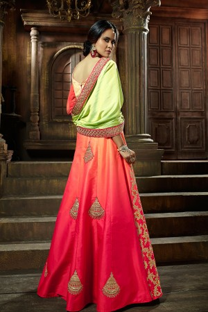 Adorable Orange Satin Silk Designer Heavy Embroidery and Stone Work Lehenga choli