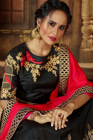 Dashing Black Raw Silk Designer Heavy Embroidery and Stone Work Lehenga choli