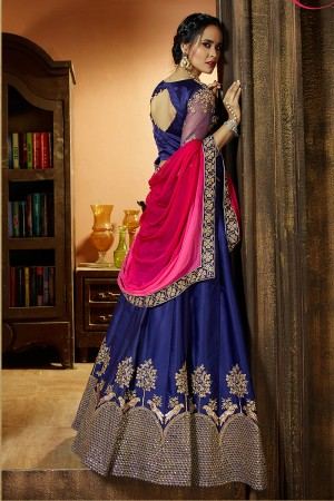 Trendy Blue Satin Silk Designer Heavy Embroidery and Stone Work Lehenga choli