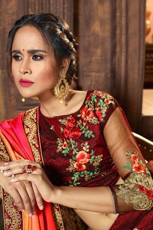 Versatile Dark maroon Raw Silk Designer Heavy Embroidery and Stone Work Lehenga choli