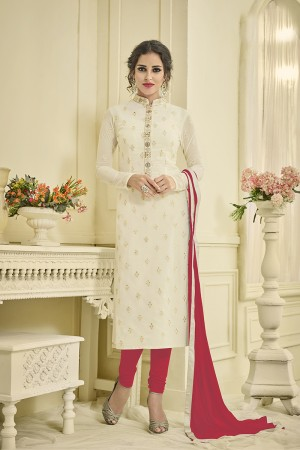 Enigmatic Offwhite Georgette Embrodiery Butti Work on Top Salwar Kameez