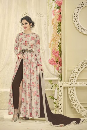 Affluent Multicolor Satin Print Printed Top with Embroidery Patch Work Salwar Kameez