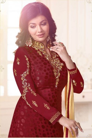 Ayesha Takia Maroon Brasso Heavy Embroidery on Neck and Sleeve Salwar Kameez