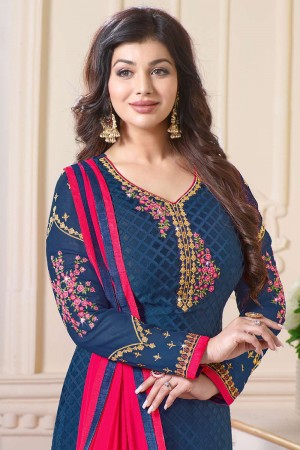 Ayesha Takia Blue Brasso Heavy Embroidery on Neck and Sleeve Salwar Kameez