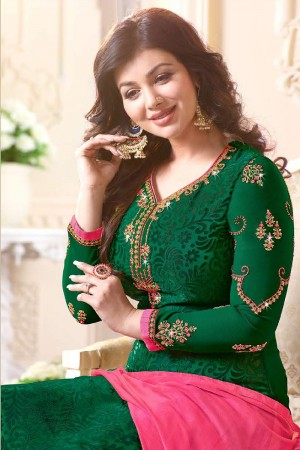 Ayesha Takia Green Brasso Heavy Embroidery on Neck and Sleeve Salwar Kameez