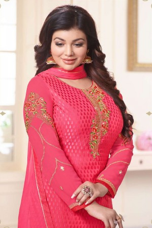 Ayesha Takia Pink Brasso Heavy Embroidery on Neck and Sleeve Salwar Kameez