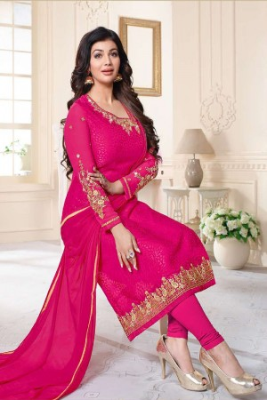 Ayesha Takia Rani Pink Brasso Heavy Embroidery on Neck and Sleeve Salwar Kameez