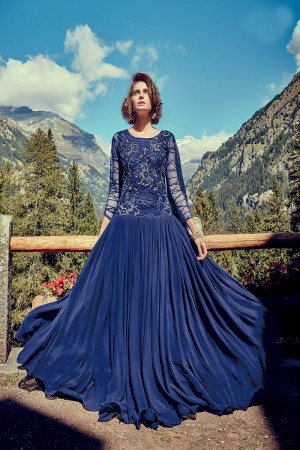 Amiable Blue Georgette Heavy Sequnce Embroidery with Thread Embroidery  on Net and Finished with Moti Gown