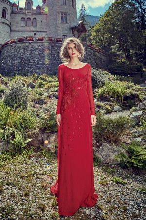 Adorable Red Crepe  Heavy Sequnce and Thread Embroidery on Crepe with Hand Made Work Gown