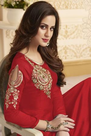 Angellic Red Banglori Silk Heavy Embroidery Anarkali Salwar Suit
