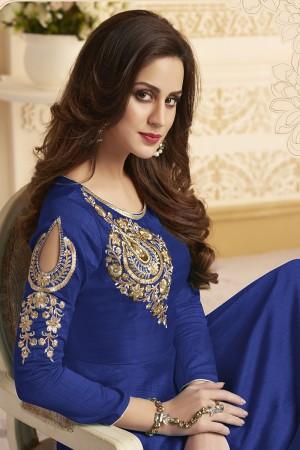 Ethnic Blue Banglori Silk Heavy Embroidery Anarkali Salwar Suit