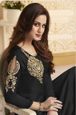 Engrossing Black Banglori Silk Heavy Embroidery Anarkali Salwar Suit