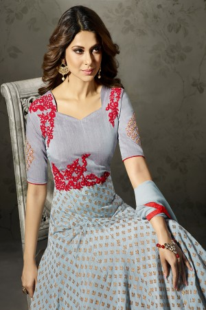 Jennifer Winget Cyan Silk&Jacquard Resham and Zari on Patch with Diamond Salwar Kameez