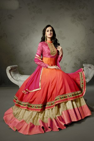 Jennifer Winget Shaded Digital Printed Silk,Jute Net&Shaded Satin Silk Resham, Zari and Coding Work Salwar Kameez