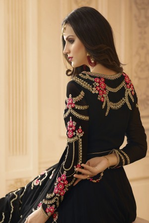 Royal Black Georgette Heavy Embroidery Zari and Diamond Work   Salwar Kameez