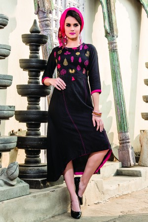 Wondrous Denim Doby Black Embroidery with Pompom Kurti