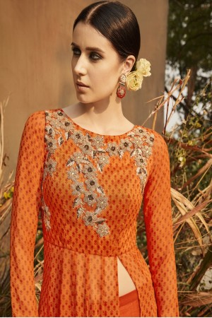Angellic Orange Georgette Heavy Gota Embroidery Salwar Kameez