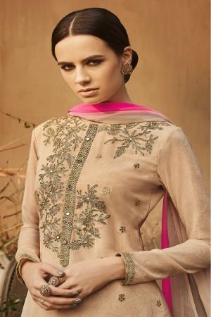 Ravishing Beige Georgette Heavy Gota Embroidery  Salwar Kameez