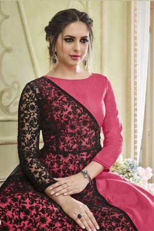 Alluring Pink Georgette Heavy Embroidery Coding Work   Salwar Kameez