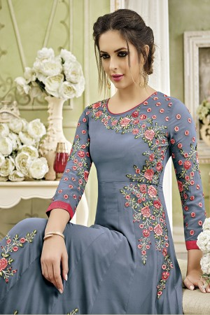 Fantastic Grey Georgette Heavy Embroidery Thread and Diamond Work   Salwar Kameez