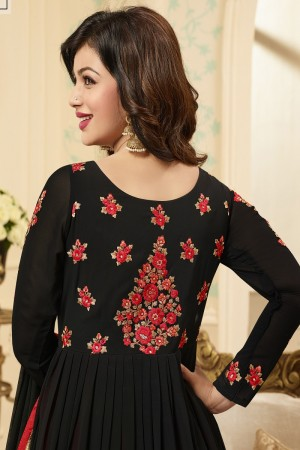 Ayesha Takia Black Georgette Heavy Embroidery Work   Salwar Kameez