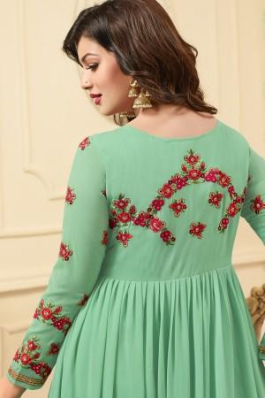 Ayesha Takia Pista Green Georgette Heavy Embroidery Work   Salwar Kameez