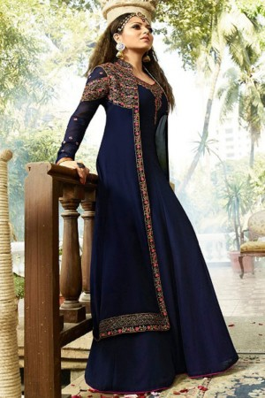 Drashti Dhami Blue Georgette with Georgette Jacket Heavy Embroidery Thread, Zari and Diamond Work   Salwar Kameez