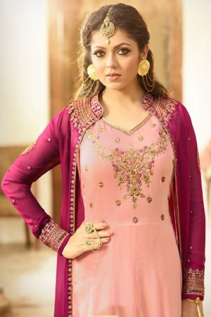 Drashti Dhami Wine&Peach Georgette with Georgette Jacket Heavy Embroidery Thread, Zari and Diamond Work   Salwar Kameez