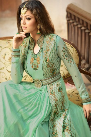 Drashti Dhami Pista Green Georgette with Georgette Jacket with Belt Heavy Embroidery Thread, Zari and Diamond Work   Salwar Kameez