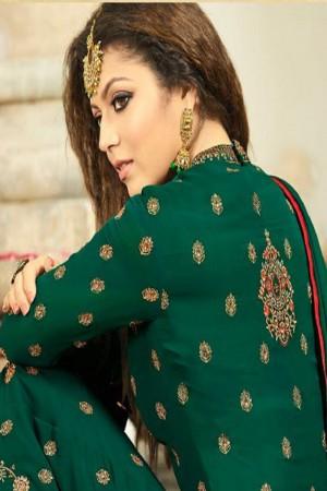 Drashti Dhami DarkGreen Georgette Heavy Embroidery Thread, Zari and Diamond Work   Salwar Kameez