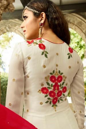 Drashti Dhami OffWhite Georgette Heavy Embroidery Thread, Zari and Diamond Work   Salwar Kameez