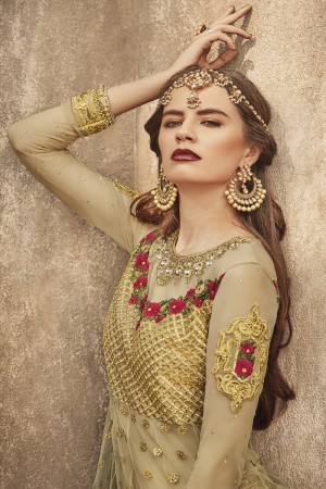 Royal Golden Net Heavy Embroidery Thered and Zari Work in Kali Style  Salwar Kameez