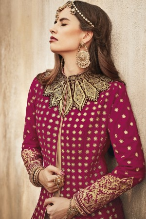 Fab Dark Pink Velvet  Heavy Embroidery Zari Buti Work on Top and Patch on Neck  Salwar Kameez
