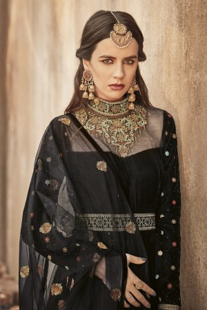 Bewitching Black Net&Velvet Heavy Embroidery Work on Sleeve and Neck with Diamond Work  Salwar Kameez