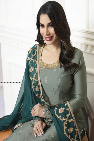 Sophie Chaudhary Pine Modal Satin Heavy Embroidery Top with Embroidered Plazzo Bottom  Salwar Kameez