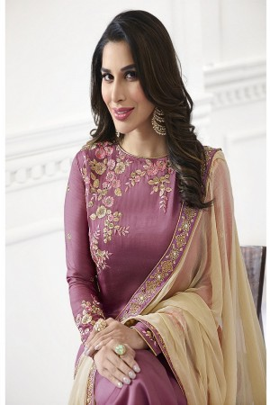 Sophie Chaudhary Pink Modal Satin Heavy Embroidery Top with Embroidered Plazzo Bottom  Salwar Kameez