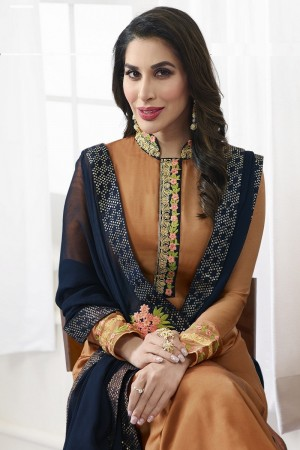 Sophie Chaudhary Orange Modal Satin Heavy Embroidery Top with Embroidered Plazzo Bottom  Salwar Kameez