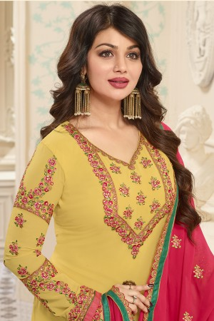 Ayesha Takia Yellow Georgette Heavy Embroidery on Neck and Sleeve with Embroidery Dupatta  Salwar Kameez